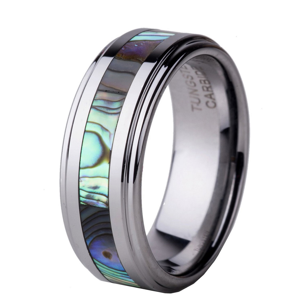 Natural Colorful Abalone Shell Inlay 8mm Men's Tungsten Carbide Ring Engagement Wedding Band Fort Fit Size 11 125 13 Tu012r: Carbide Abalone Wedding Rings At Websimilar.org