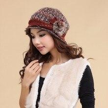 Charles perra chapéus femininos inverno engrossar dupla camada térmica chapéu de malha artesanal elegante senhora casual gorros de lã 3538