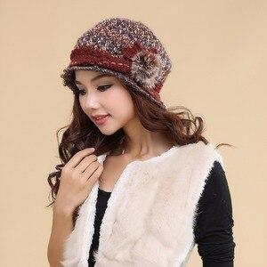 Image 1 - Charles perra chapéus femininos inverno engrossar dupla camada térmica chapéu de malha artesanal elegante senhora casual gorros de lã 3538