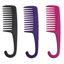 Professional Hair Cutting Teeth Wide Tooth Comb with Curved Hairbrush Hook ABS Plastic Heat-resistant For Hair Styling Tool dimple curved design hair comb
