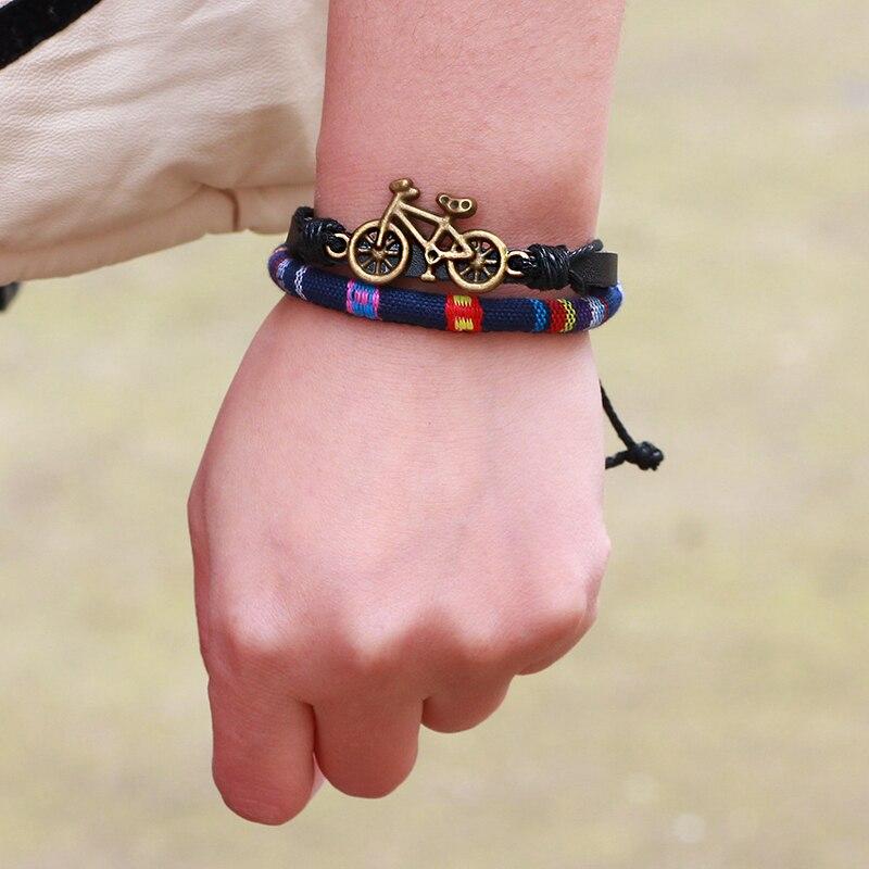 Прохладный Спорт Мини велосипед браслет Homme ткань воск веревки кожаный браслет Для мужчин WomanBracelets для Для женщин Braclet Для мужчин ювелирные и...