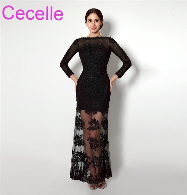 illusion Black Long Sheath Prom Dresses 2018 With Long Sleeves Lace ...