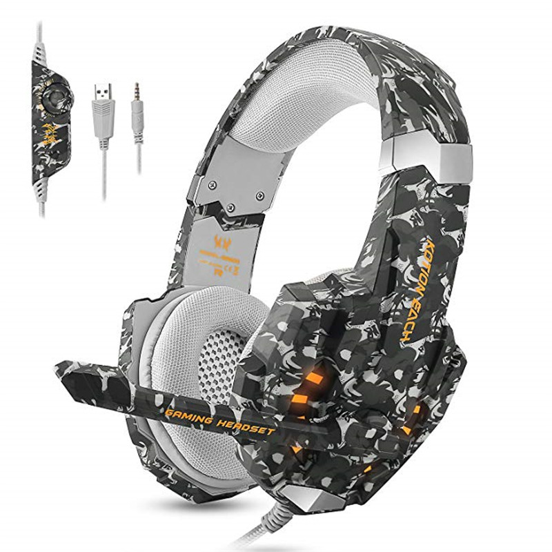 KOTION EACH Stereo Camouflage 3 5mm Gaming Headset Noise Cancelling Headphones with Mic LED Light for