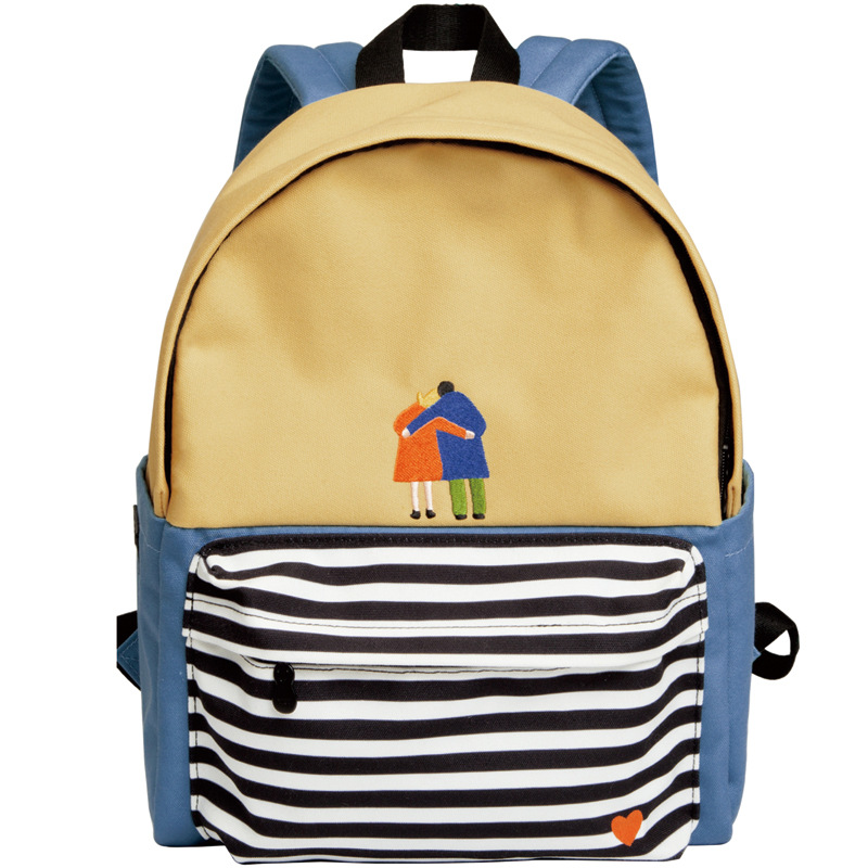 YIZISTORE Original Design Women  Casual Canvas Backpacks School Bag For Teenagers Angel Embroidery Stripes Print Unisex-in Backpacks from Luggage & Bags    1