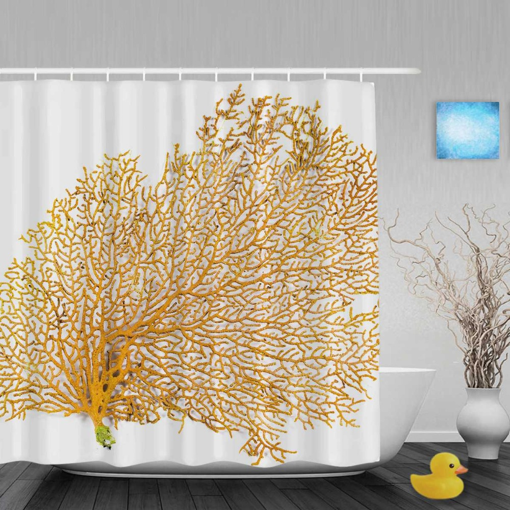 Red Sea Coral Decor Bathroom Shower Curtain Beautiful