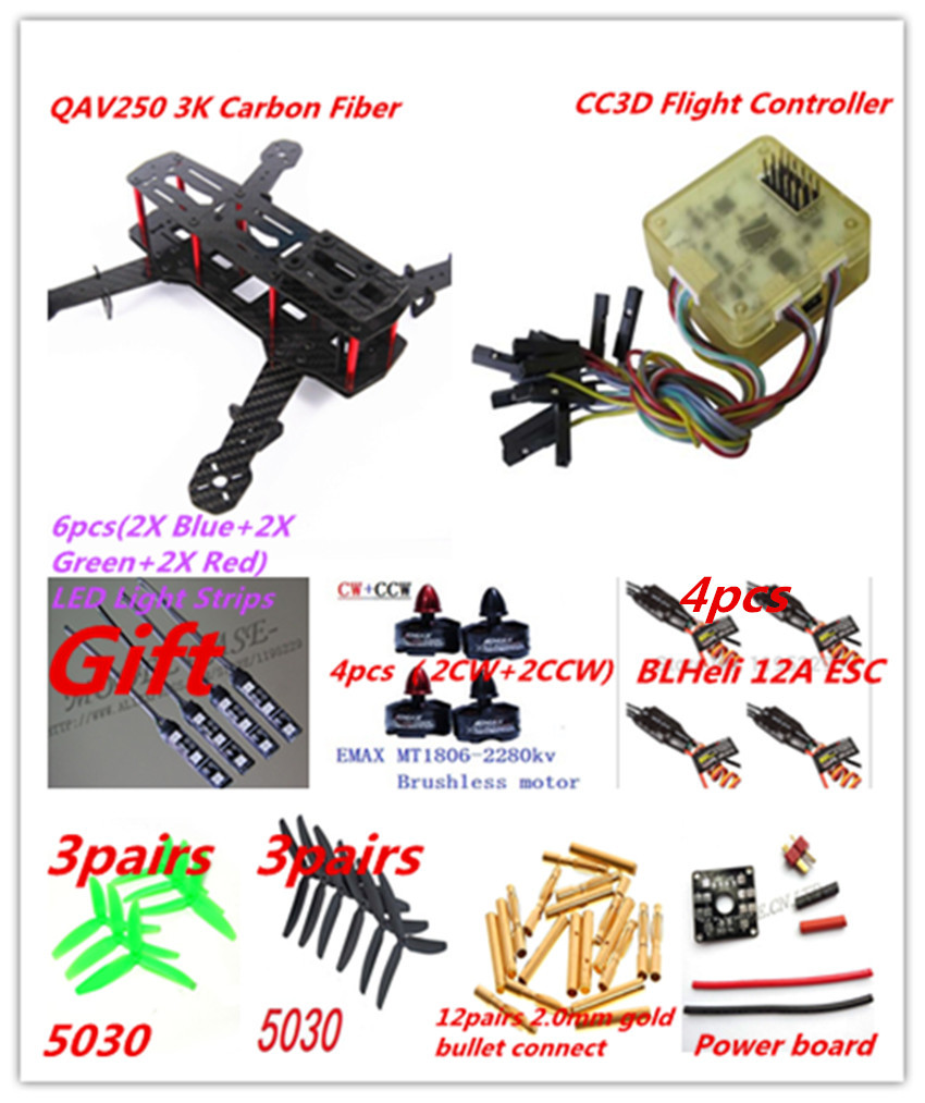 New CF QAV250 DIY Quadcopter Multirotor Kit&Emax MT1806 Brushless Motor&BLHeli 12A ESC&CC3D&6pairs Prop&Gift 12V LED Light Strip  high quality hexacopter emax mt2216 810kv 200w clockwise brushless motor for multirotor quadcopter