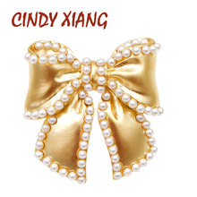 CINDY XIANG Pearl Bow Brooches For Women Matte Gold Color Small Bowknot Pins Summer Dress T-shirt Acessories New Design 2019