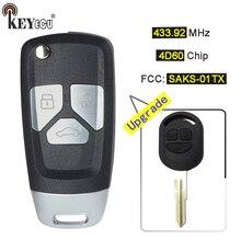 KEYECU 1x/4D60 2×433.92 mhz Chip FCC ID: SAKS-01TX Atualizado Virar Remoto da Chave Do Carro Fob 3B DW04R Lâmina para Chevrolet Optra Lacetti