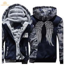 The Walking Dead Fashion Hip Hop Hooded Men 2019 Winter Loose Fit Sweatshirts Thick Hoodies Tracksuit Mens Coat Warm Jacket
