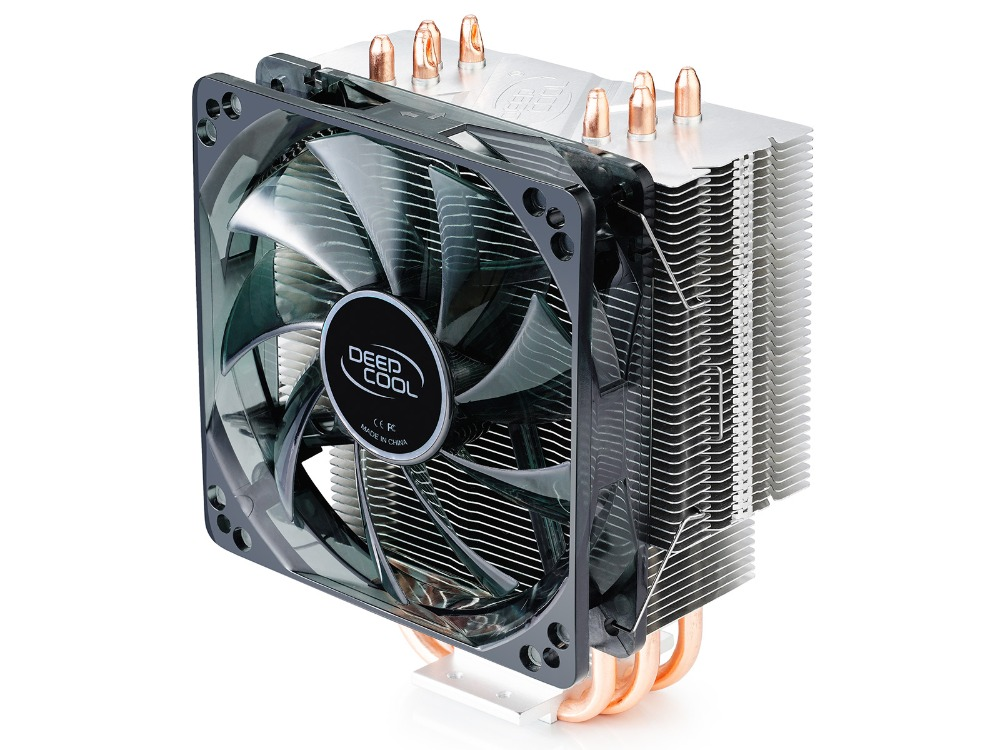 Deepcool 12025 fan , 4 heatpipe, tower side-blown CPU radiator for Intel LGA 775/1155/1156/1150, AMD 754/940/AM2+/AM3/FM1/FM2 deepcool mini cpu cooler 2pcs 8025 fan double heatpipe radiator for intel lga 775 115x for amd 754 940 am2 am3 fm1 fm2 cooling