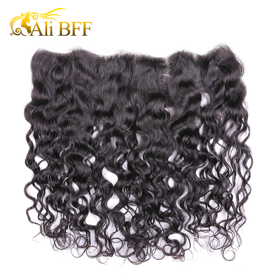 ALI BFF hair 13x4 Lace Frontal Brazilian Water Wave Ear to Ear Pre Plucked Frontal Closure With Baby Hair 100% Remy Human Hair