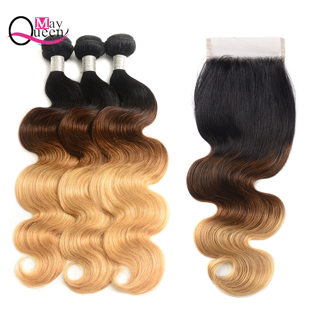 May Queen Hair Ombre 1B/4/27 Brazilian Body Wave Hair Weave Bundles With Lace Closure Remy Hair Extensions 100% Human Hair