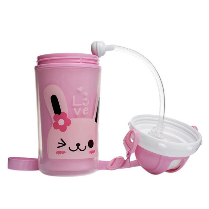 Baby Handle Silicone Cup Kids Children Straw Water Bottles Learn Feeding Drinking Double-insulated Baby Kids Bottles Cup