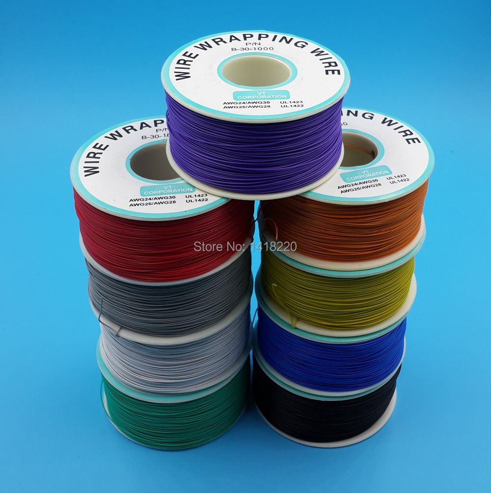 9Pcs 0.25mm Wire Wrapping Wire 30AWG Cable 250m Red Black White ...