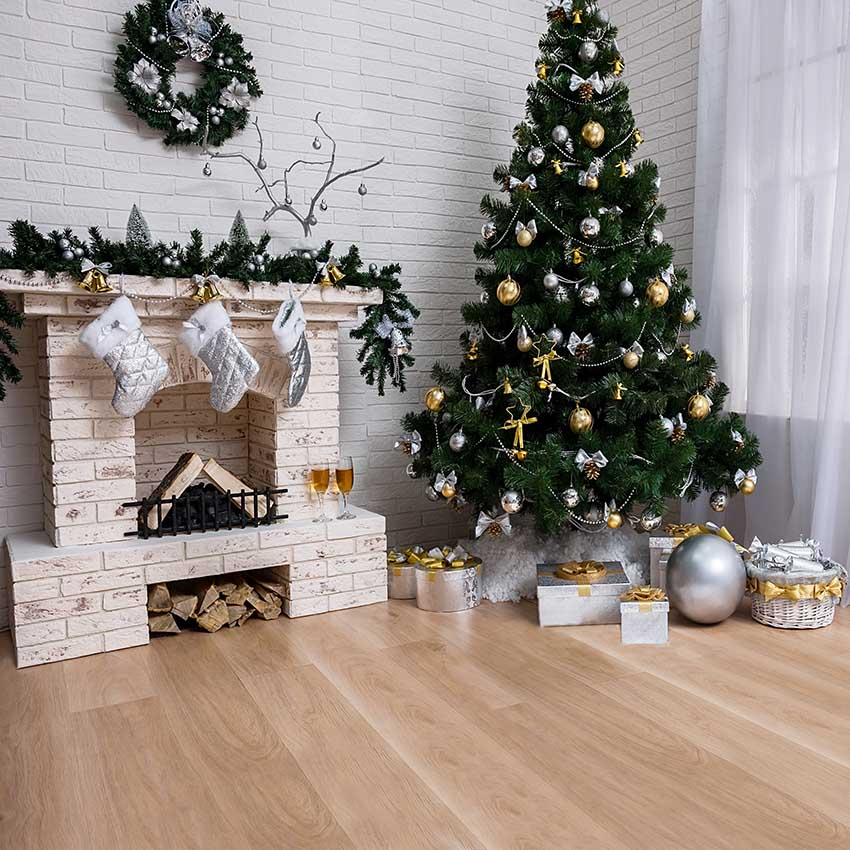 Christmas Fireplace.Us 9 95 37 Off Vinyl Indoor Christmas Tree Backdrop Fireplace Photo Background White Brick Wall Photography Backdrops For Wood Floor Props 914 In