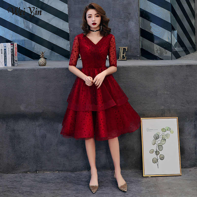 3aba973f48 Detail Feedback Questions about WEIYIN Pink Cocktail Dress Lace Knee ...