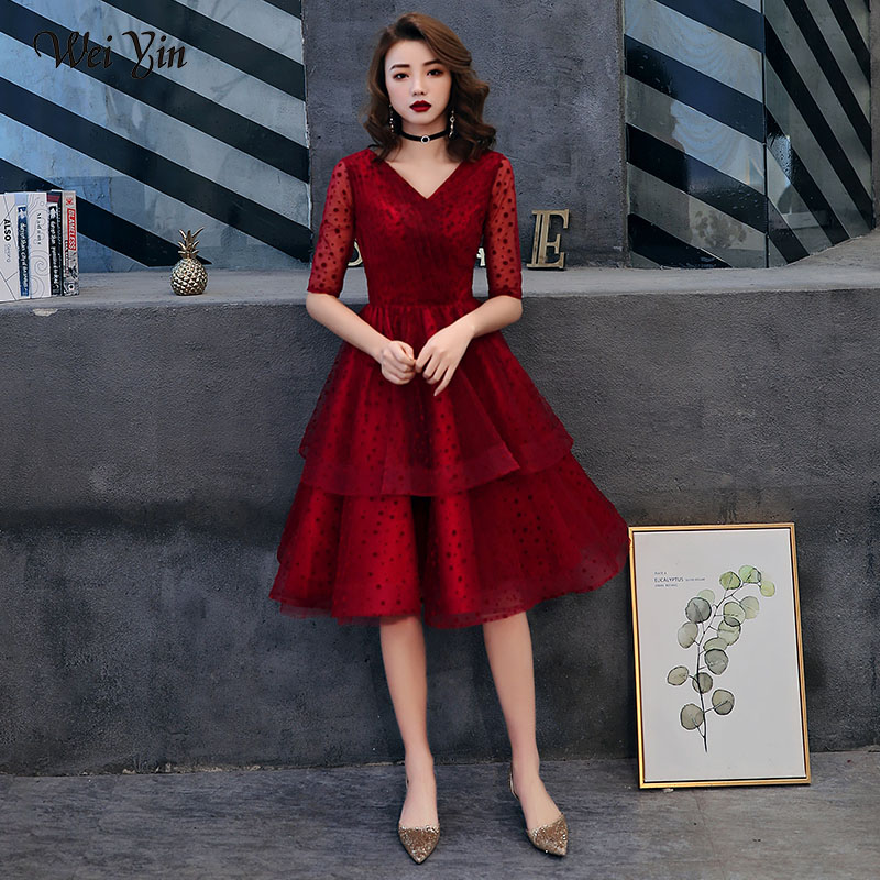 wei yin 2019   Cocktail     Dresses   New Lace Half Sleeve Elegant Lace Short Homecoming   Dress   Chic Formal   Dress   Short Prom Gown WY1659