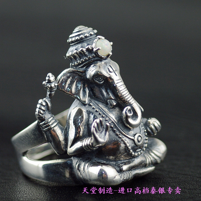 Thailand imports 925 silver a carved elephant Ganesh ring thailand imports skull blood new skeleton silver ring
