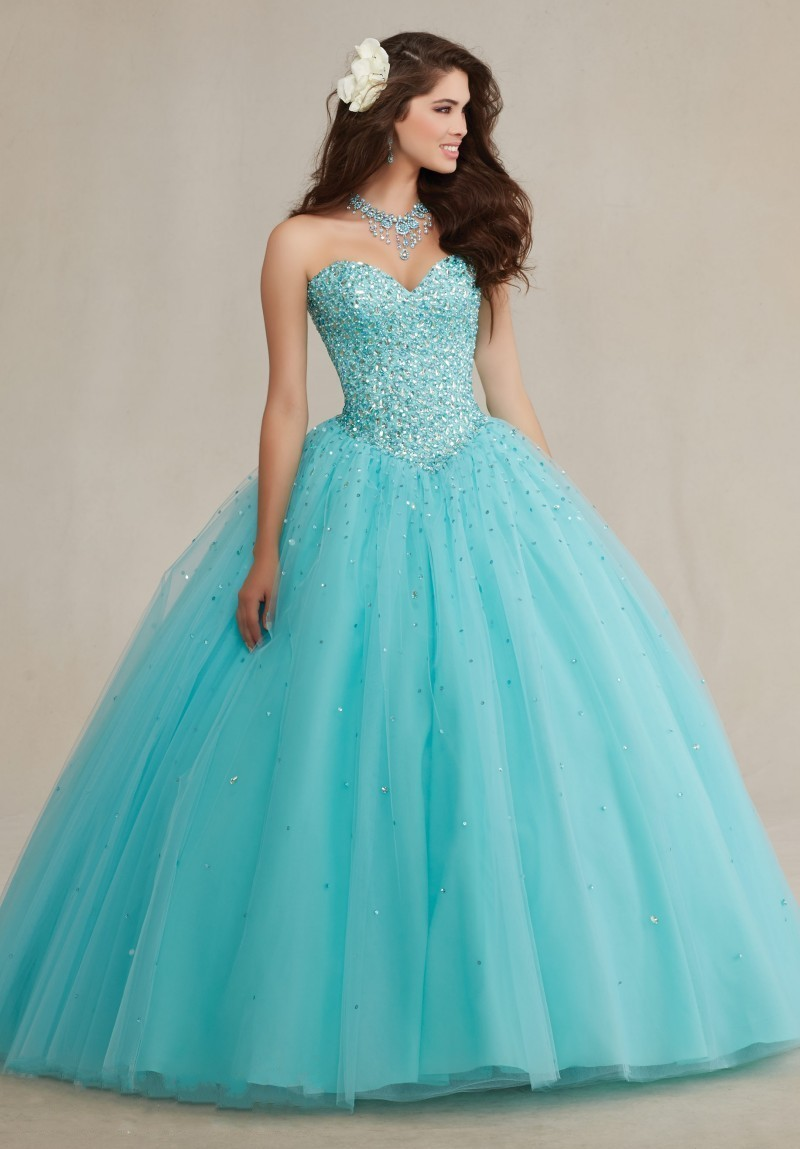 Sparkly Ball Gown Crystals Corset Puffy Tulle Turquoise Quicneanera ...