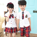 2016 New A British Style Summer Suit For Children Boys And Girls Class Service Two Sets Of School Uniform Clothing