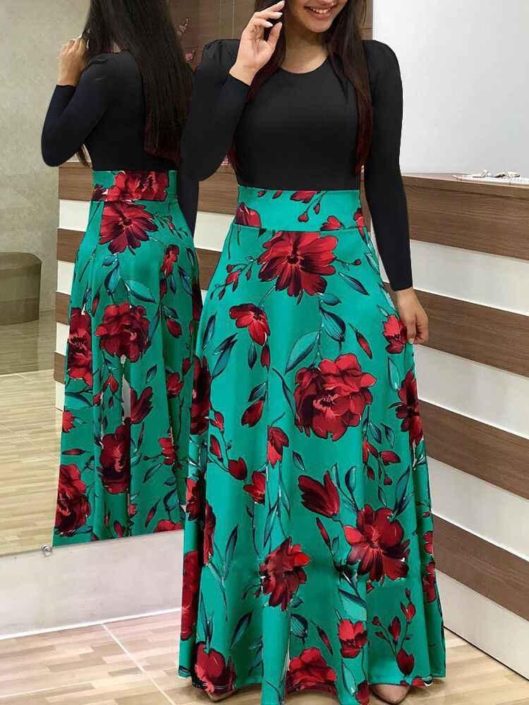 f1fc810a50 ... Women Dress Short Sleeves O Neck Patchwork Women Dresses Floral Printed  Draped Vestidos Female Long Maxi ...