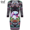 2016 Vinatge Bohemian Casual Style Fashion Korean Brand Clothes Challis Long Sleeve Petals Flowery Floral Bodycon Dress