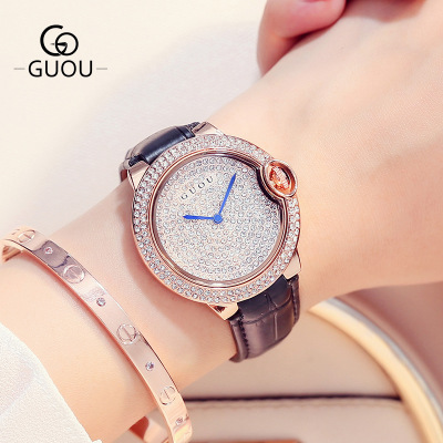 GUOU Dress Watch Luxury Brand Women Watches Full Rhinestone Leather Casual Lady Quartz Wrist Watch Relogio feminino Montre Femme светодиодная лампа 10 cree xlamp xml2 xm l2 t6 u2 10w led 16