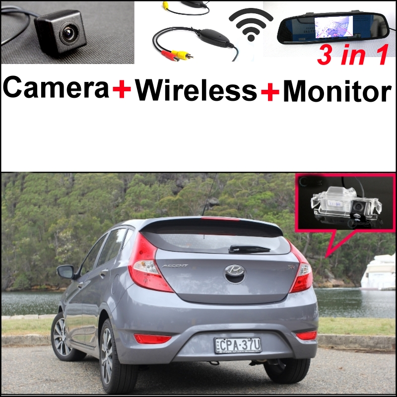 3 in1 Special Camera + Wireless Receiver + Mirror Monitor Back Up Parking System For Hyundai Accent RB Blue Wit i25 Hatchback hyundai accent hatchback ii бу москва