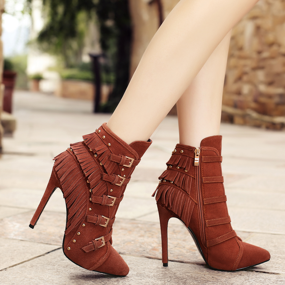 ФОТО 5 Color Plus Size Women's Autumn Ultra High Heel Pointed Toe Ankle Boots Brand Design Metal Buckle Rivet Night Club Shoes Women