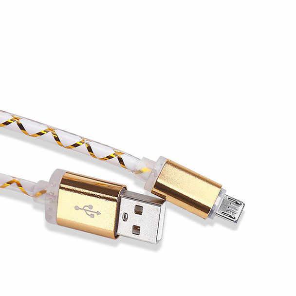 Кабель USB для синхронизации данных, шнур для зарядного устройства, ткань для телефона Android, светодиодный кабель Micro USB для зарядки, провод для Samsung