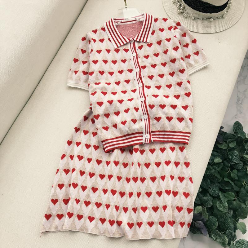 Summer Autumn Korean Women Knitting Skirt Sets Heart Pattern Peter Pan Collar Short Slee ...