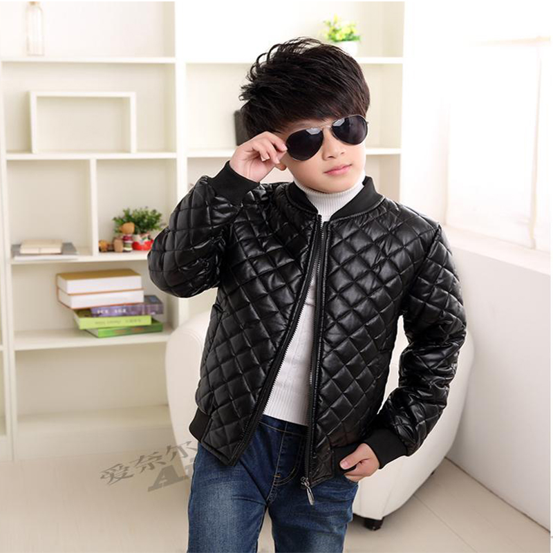 2018 New Boys Coats Faux Leather Jackets Children Fashion Spring And Autumn Outerwear PU Light And Thin Zipper Motorcycle Jacket pu leather and corduroy spliced zip up down jacket