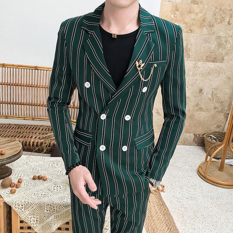 Мужской костюм из 2 шт., с брюками, в клетку, в полоску, для DJ Club, двубортный смокинг, костюмы для свадьбы, Jaquetas