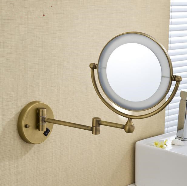 LED Antique Brass Cosmetic Mirror Wall Mounted Bathroom Beauty Double Faced Makeup Folding