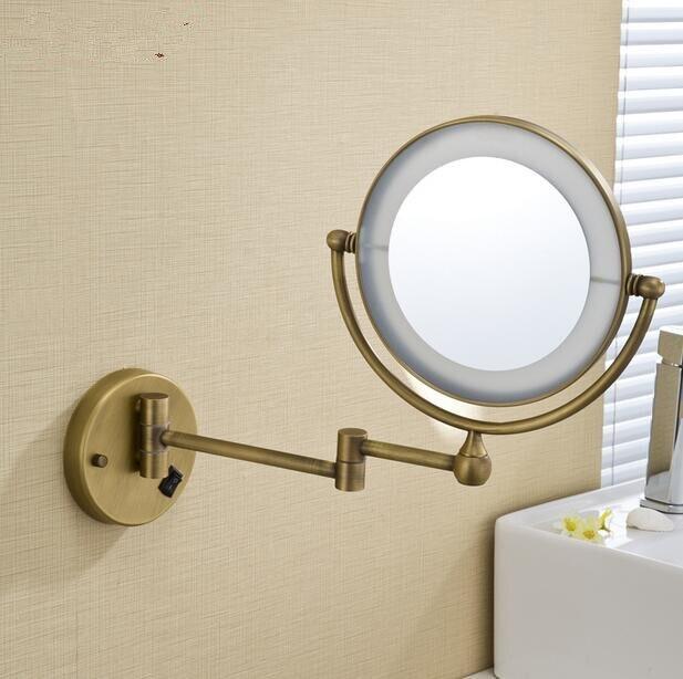 led antique en laiton cosmtique miroir mural salle de bains beaut miroir double face maquillage miroir antique pliage miroir dans miroirs salle de bain de - Miroir Mural Salle De Bain