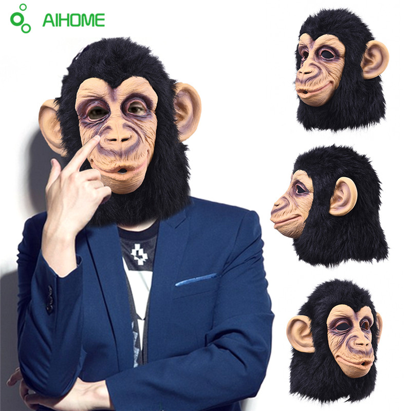 Animal Orangutan Monkey Head Latex Mask Full Face Head Party Mask Halloween Dance Party Costume Masks Fancy Dress Theater Toys