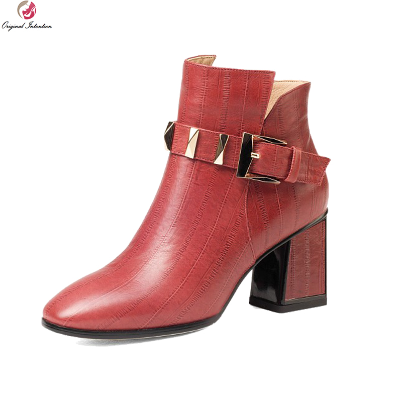 Original Intention High-quality Women Ankle Boots Cow Leather Round Toe Square Heels Boots Black Red Shoes Woman US Size 3-10.5 enmayer shoes woman high heels round toe boots shoe plus size 35 46 ankle boots for women platform shoes rivets charms black