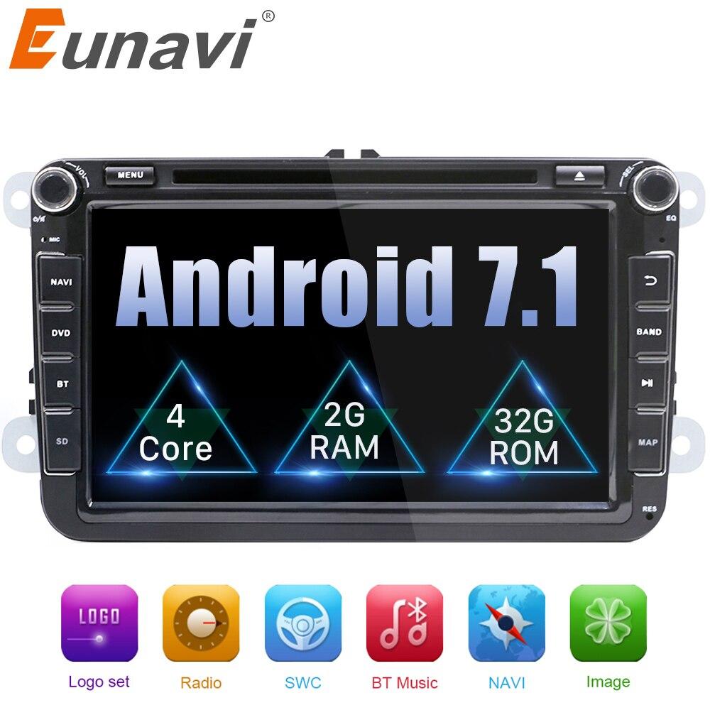 Eunavi 8 ''2 Din Android 7.1 8.1 dvd de voiture radio gps pour Polo Jetta Tiguan VW passat b6 cc fabia miroir lien bluetooth au tableau de bord