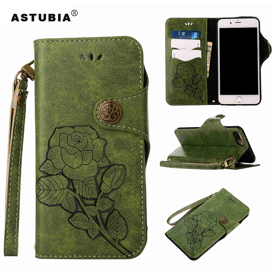 ASTUBIA Vintage Flower Case For Apple iPhone SE Case Silicone PU Leather Cover For iPhone X Case For iPhone 5s 6 6s 7 8 Plus Bag