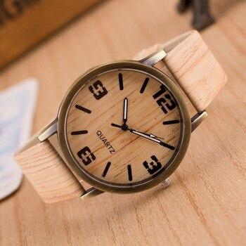 Fashion Wood Grain Leather Watches Mens Retro Design Roman Numerals Quartz Vogue Wrist Watch Women Unisex Clock Relojes Mujer
