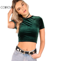 COLROVIE Velvet T Shirt Women Hunter Green O Neck Short Sleeve Sexy Summer Crop Tops 2017