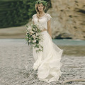 New Sexy O Neck Beach Lace 2 Pieces Bohemian Wedding Dresses 2016 Sweep Train Short Sleeves Lace Bridal Gown Robe De Mariage