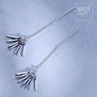 925 Sterling Silver Earrings with Sterling Silver fringe Park Shin Hye Japan Korea female temperament long ear line