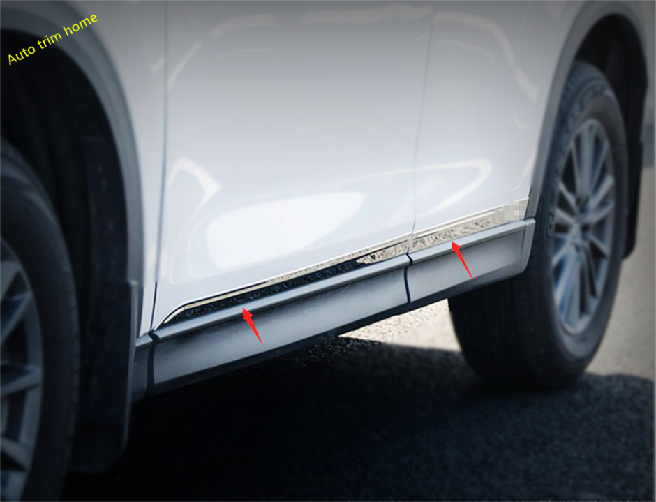 Lapetus Stainless Steel Exterior Refit <font><b>Kit</b></font> Fit For <font><b>Mazda</b></font> CX-5 <font><b>CX5</b></font> 2017-2019 Car Door <font><b>Body</b></font> Stripes Protection Panel Cover Trim image