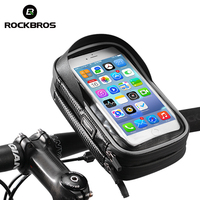 ROCKBROS 6 Inch Bicycle Phone Bag Rainproof Cycling Handlebar Bags TPU Touch Screen Cell Phone Holder MTB Frame Pouch Case