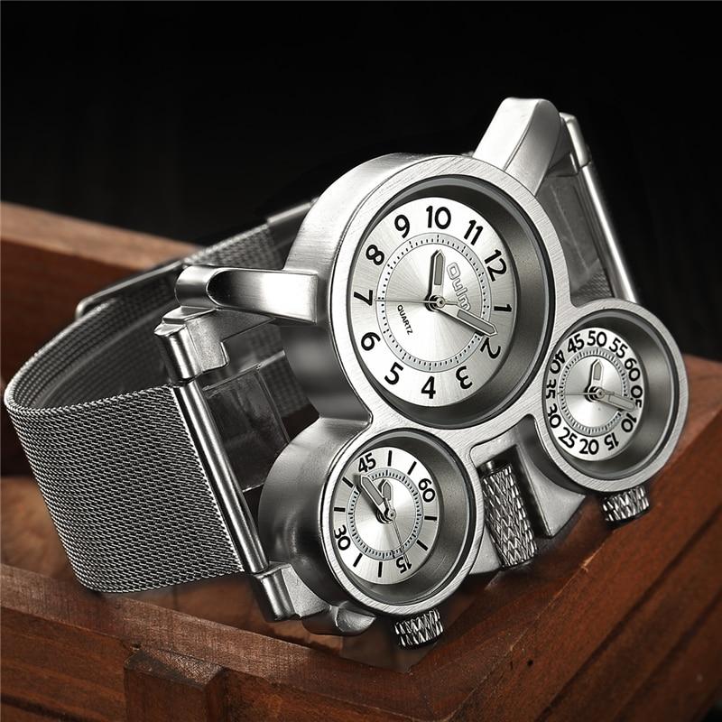 Oulm tres zonas horarias hombres relojes de cuarzo Casual malla de acero Band zona horaria múltiple reloj único hombres de los deportes reloj