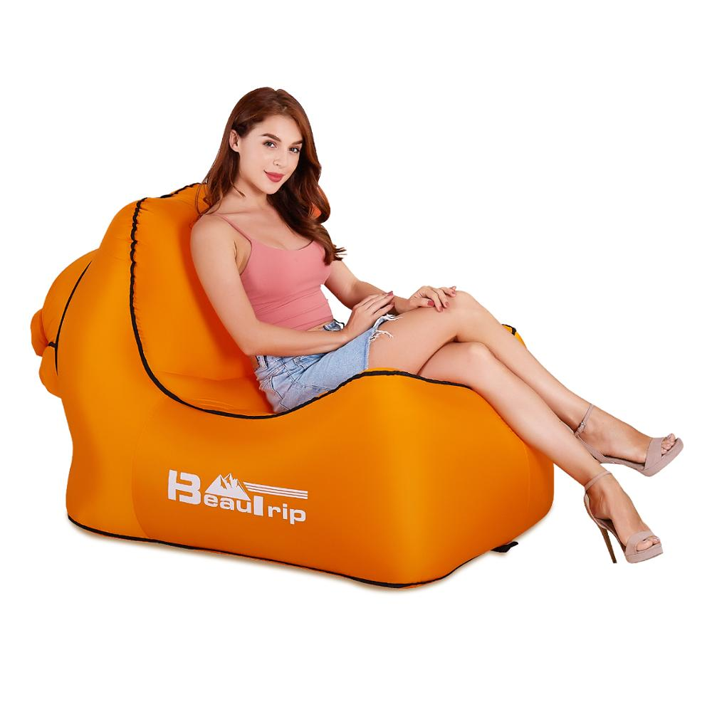 No Pump Needed Outdoor Fast Inflatable Air Chair Lounger Hangout Portable Lightweight Camping Beach Wind Bag Air Sofa Couch-in Beach Chairs from Furniture    1