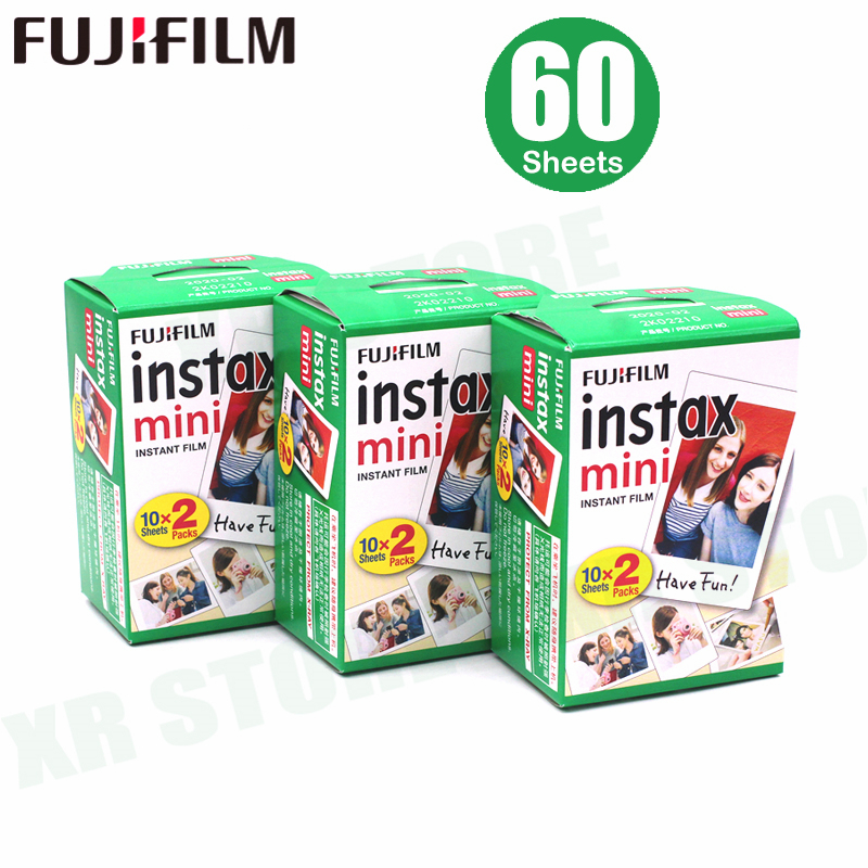 Fujifilm Instax Mini Film White Edge 60 Sheets/Packs Photo Paper for Fuji instant camera 9/8/7s/25/50/90/sp-1/sp-2 with Package
