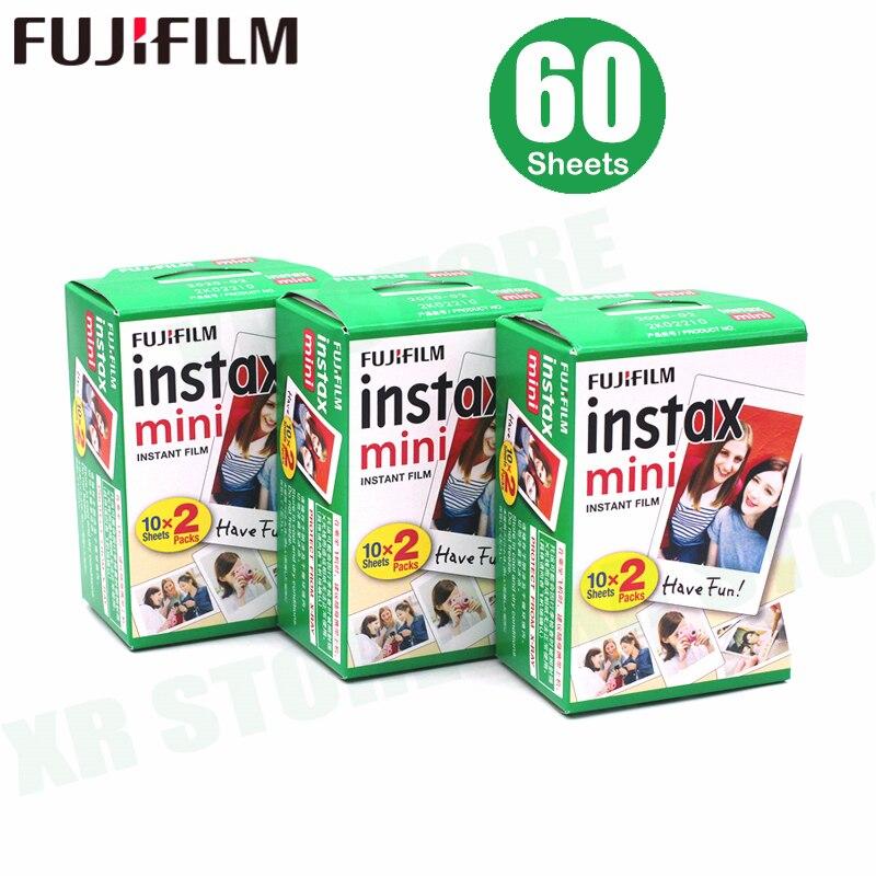 Fujifilm Instax Mini Film bord blanc 60 feuilles/paquets papier Photo pour appareil Photo instantané Fuji 9/8/7 s/25/50/90/sp-1/sp-2 avec emballage
