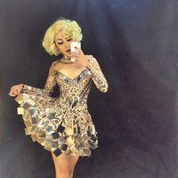 Handmade Beyonc Costume Roupa Feminina Rhinestone Bodysuit Stage Dress for Singers Nightclub Dress Mirror Dressesroupa Feminina